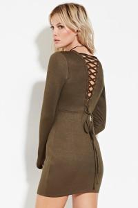 olive lace-up back dress
