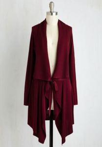 Flowy tie-waist cardigan in burgundy