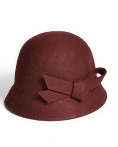 Burgundy wool cloche hat with bow