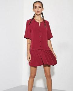 Drop waist button front burgundy dress