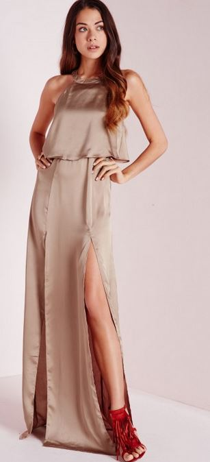 Silky front slits maxi dress