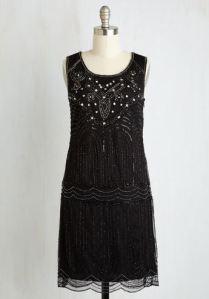 1920s style black beaded dress