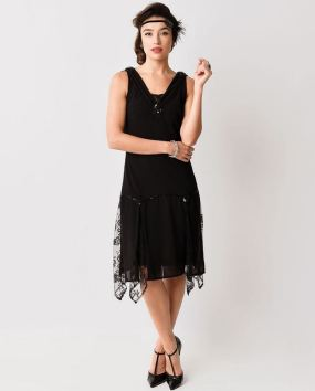 Black Vintage style 1920s dress