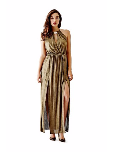 Metallic maxi dress with front slits and keyhole neckline