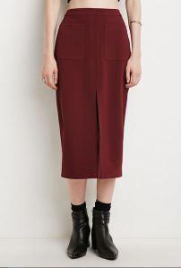 Midi front slit skirt in burgundy
