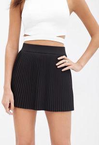 Pleated black mini skirt