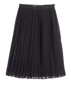Pleated black midi skirt