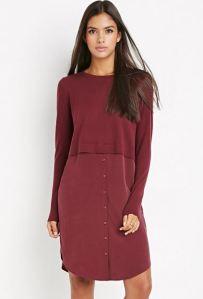 Burgundy silk combo dress