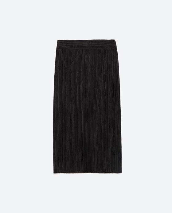 Straight black pleated midi skirt