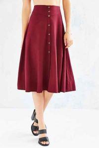 Burgundy button front flowy midi skirt