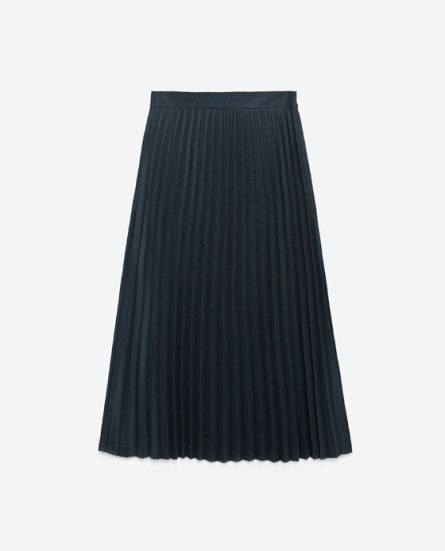Pleated navy blue midi skirt