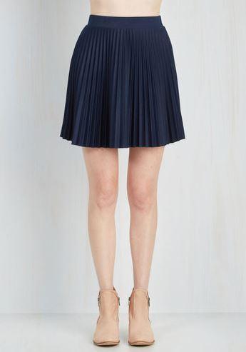 Acccordian pleated navy blue mini skirt