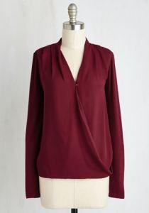 Long sleeved flowy burgundy top