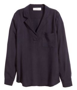 Collared long sleeved black blouse