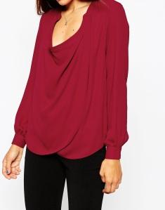 Burgundy long sleeved flowy blouse