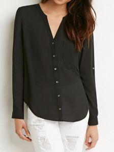 Chiffon pocket long-sleeved black blouse