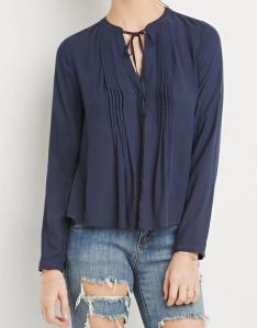 Pintucked buttoned down navy blue bluse