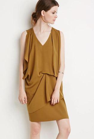 Drapey gold shift dress