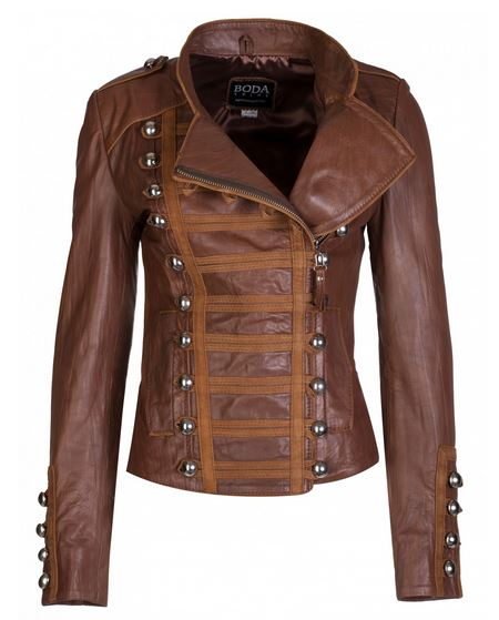 Military style brown leather jacket