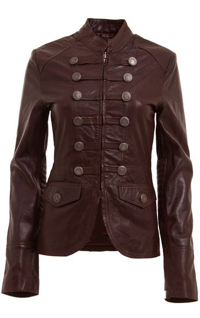 Military style dark brown leather jacket