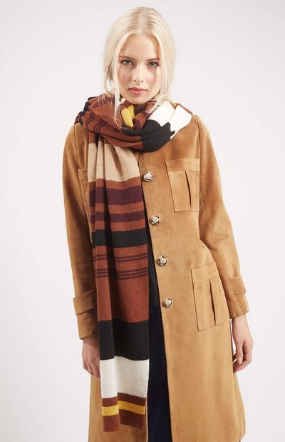 Brown multicolored striped scarf