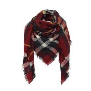 Plaid check wrap scarf: burgundy, blue, yellow and white