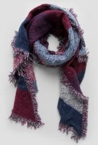 Maroon, blue and grey plaid scarf