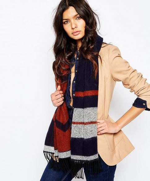 Brown, blue and grey striped scarf