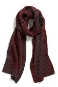 Burgundy color block scarf