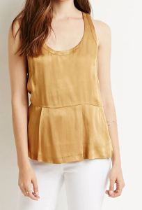 Gold pleated sateen top