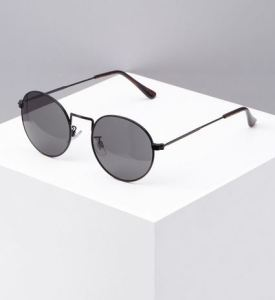 Retro round frame sunglasses in black