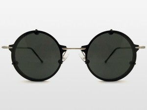 Round steel frame sunglasses in black
