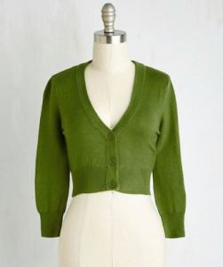 green cropped cardigan`