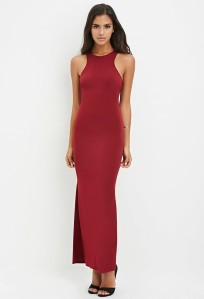 Forever 21 crisscross back maxi dress in burgundy