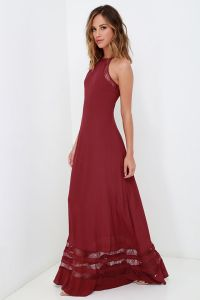 LuLu's Wine Red Lace Maxi Dress
