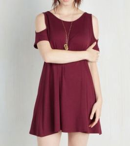 Cut out shoulder burgundy shift dress