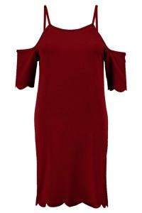 Cold Shoulder Scallop Hem Shift Dress in burgundy