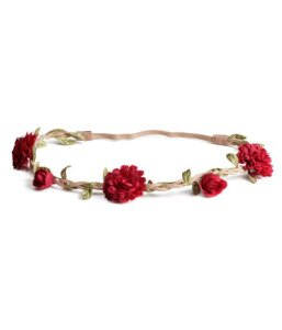 headband with red flowers