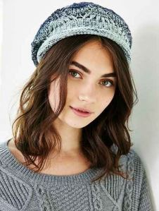 Blue ombre knit beret