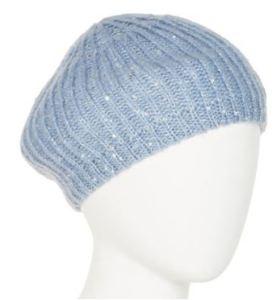 Sequin blue knit beret