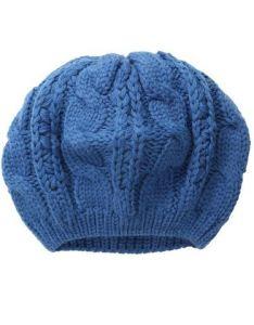 Knit beret hat in blue
