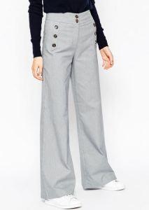 Gray Wide Leg Mini Check Pants with Button Detail