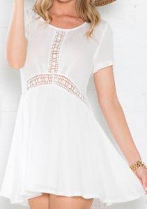 White Short Sleeve Lace Insert Dress
