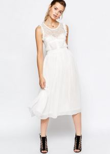 white Midi Dress with Tulle Skirt