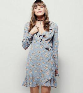 Blue floral ruffle mini dress