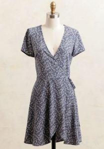 Slate blue floral wrap dress