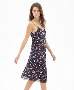 Floral cami dress with lace hem
