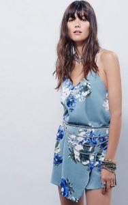 Slate blue floral slip dress