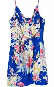 Blue spaghetti strap floral dress
