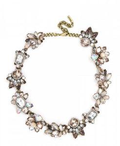 Floral gem collar necklace